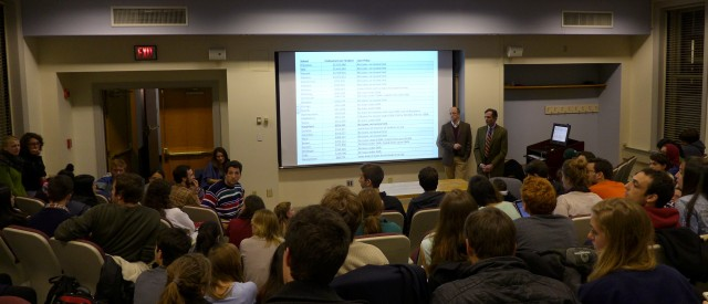 Students filled a small auditorium Monday night to hear from Dean of Admissions Jess Lord and President Dan Weiss on their proposed changes to the financial aid policy, which currently replaces loan expectations with grant aid from the College.
